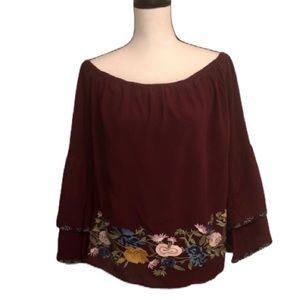 Solitaire Maroon Embroidered Off Shoulder Top